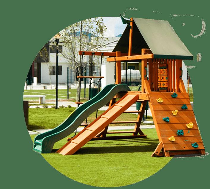Casas en Saltillo, Coahuila. Real Ankara Residencial. Modelo Milán II. Amenidades, área de juegos infantiles.