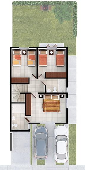 Casas en Saltillo, Coahuila. Real Ankara Residencial. Modelo Milán II. Distribución planta alta.