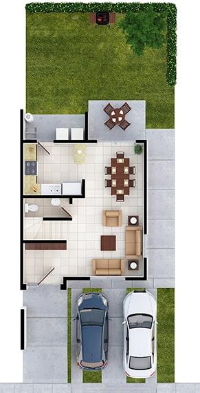 Casas en Saltillo, Coahuila. Real Ankara Residencial. Modelo Milán II. Distribución planta baja.